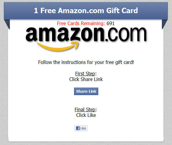 One Free Amazon.com Gift Card (limited time only) - Facebook Scam
