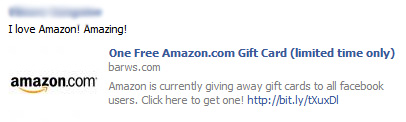 One Free Amazon.com Gift Card (limited time only) – Facebook Scam