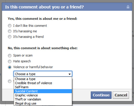 Facebook makes it easier for Suicidal People to get Help