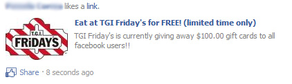 Eat at TGI Friday's for FREE! – Facebook Scam