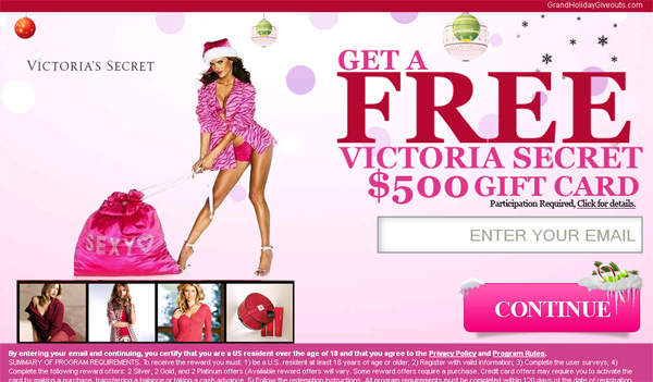 Free 50000 victoria secret gift card limited time only just negle