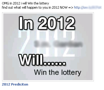 OMG in 2012 I will [random act] find out what will happen to you in 2012 NOW => – Facebook Scam