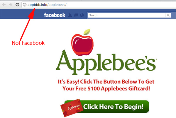 this week only 100 applebee s gift card giveaway facebook scam