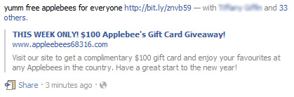 THIS WEEK ONLY! $100 Applebee's Gift Card Giveaway! – Facebook Scam