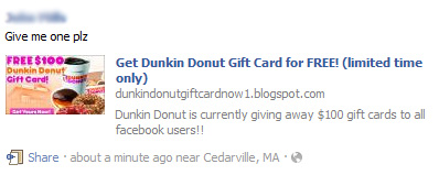 Get Dunkin Donut Gift Card for FREE! (limited time only) – Facebook Scam