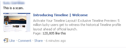 Introducing Timeline | Welcome - Facebook Scam