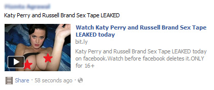 Watch Katy Perry and Russell Brand Sex Tape LEAKED today – Facebook Scam
