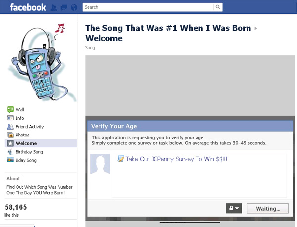 The number one song when I was born was - Facebook Scam