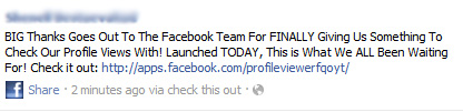 BIG Thanks Goes Out To The Facebook Team For FINALLY Giving Us Something To Check Our Profile Views With! – Facebook Scam