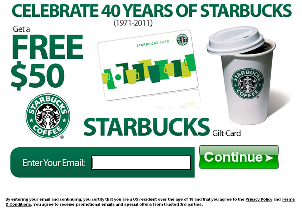 Celebrate 40 Years to Starbucks, Get a $50 GIFTCARD! (limited time only) - Facebook Scam