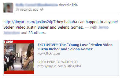 "EXCLUSIVE!!! The ""Young Love"" Stolen Video Justin Bieber and Selena Gomez – Facebook Scam"