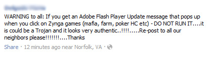 WARNING: Adobe Flash Player Update Virus Warning for Zynga Games – Facebook Hoax