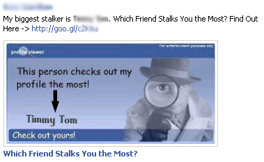 My biggest stalker is [random friend]. Which Friend Stalks You the Most? Find Out Here -> – Facebook Scam