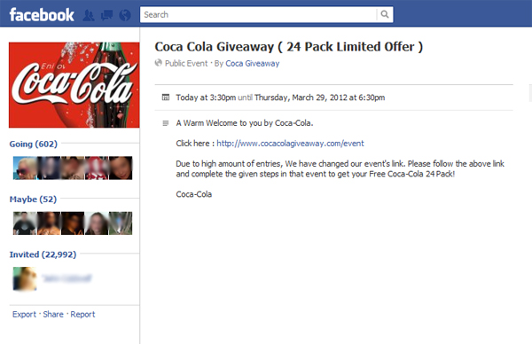 Coca Cola Giveaway ( 24 Pack Limited Offer ) - Fake Event