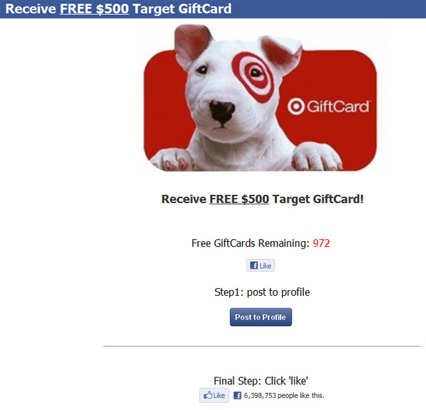 FREE $500 Target GiftCard! (limited time only) – Facebook Scam  