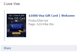 $1000 Visa Gift Card | Welcome – Facebook Scam