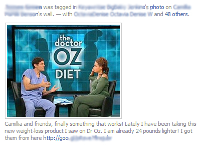 Acai berry weight loss product Facebook scam