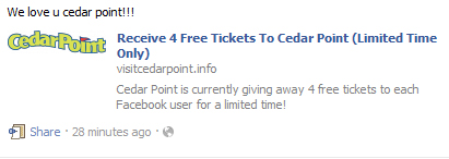 Receive 4 Free Tickets to Cedar Point (Limited Time Only) – Scam Alert