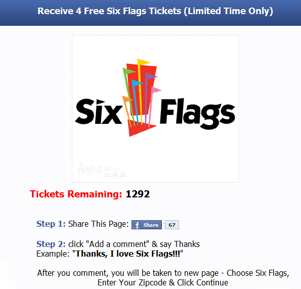 Receive 4 Free Six Flags Tickets (Limited Time Only) - Facebook Scam