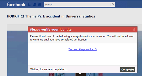 Rollercoaster Accident in California - Facebook Scam