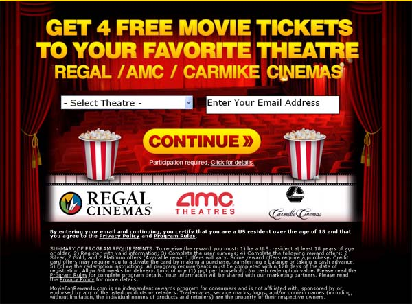 Get 4 Free Regal/AMC Movie Tickets (Limited Time Only) - Facebook Scam