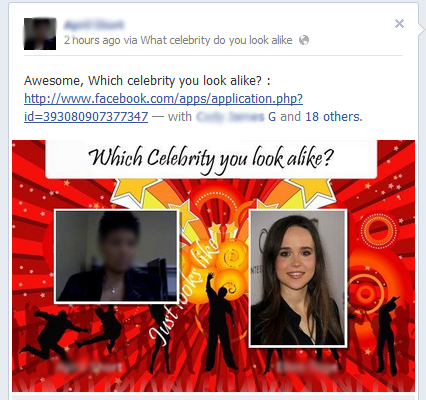 Which Celebrity you look alike? – Facebook Scam