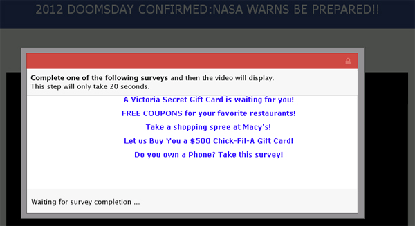 2012 DOOMSDAY CONFIRMED: NASA WARNS BE PREPARED!! - Facebook Scam