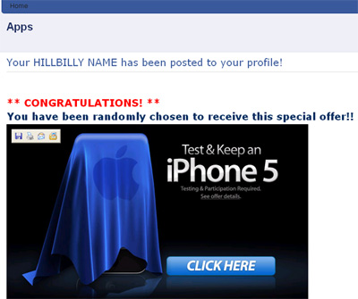 WOW I just got my hillbilly name! Hilarious! Get your hillbilly name! - Facebook Scam