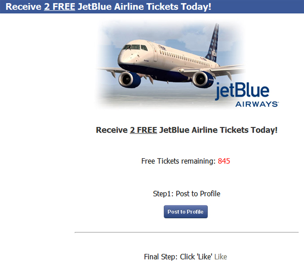 2 free jetblue airline tickets limited time only facebook scam