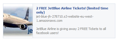 2 Free JetBlue Airline Tickets! (Limited Time Only) – Facebook Scam