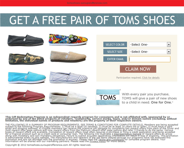 For LIMITED TIME - Grab your FREE pair of Tom's Shoes! - Facebook Scam