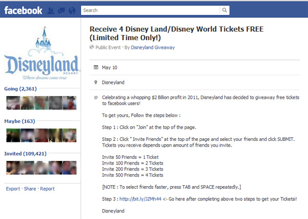 Receive 4 Disney Land/Disney World Tickets FREE (Limited Time Only!) – Facebook Scam