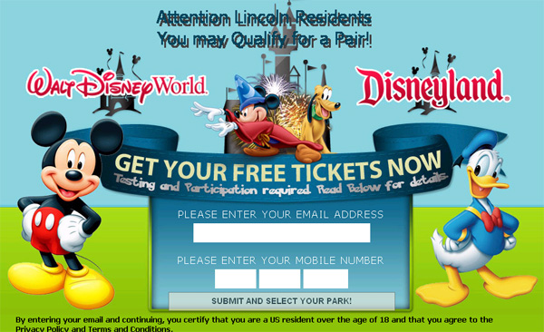 Receive 4 Disney Land/Disney World Tickets FREE (Limited Time Only!) - Facebook Scam