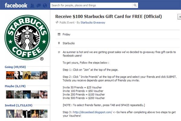 Receive $100 Starbucks Gift Card for FREE (Official) – Facebook Scam