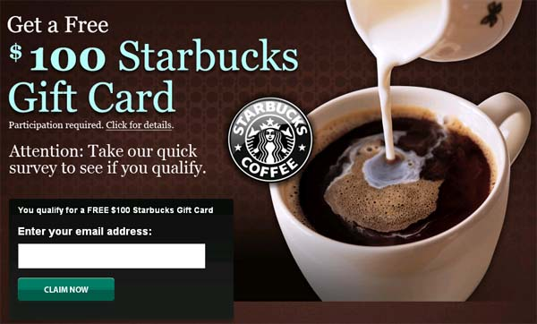 Receive $100 Starbucks Gift Card for FREE (Official) - Facebook Scam