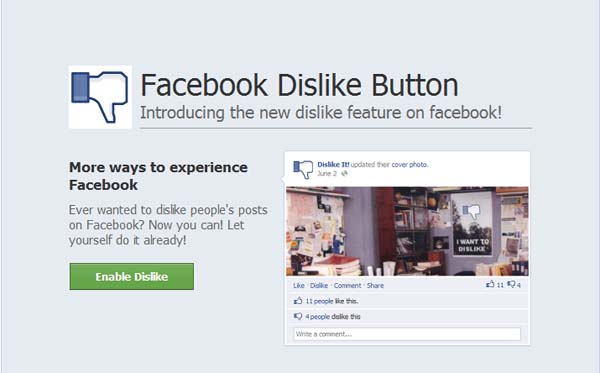 Enable Dislike Button – Facebook Scam
