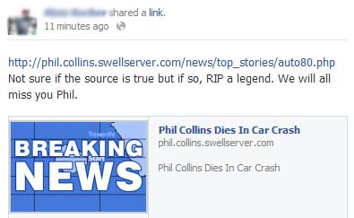 Phil Collins Dies in Car Crash – Facebook Hoax