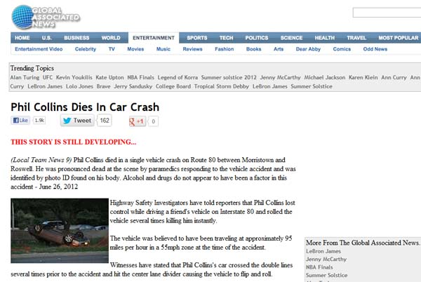 Phil Collins Dies in Car Crash - Facebook Hoax