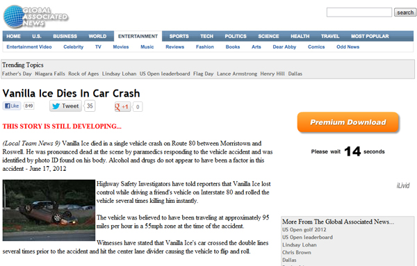 Vanilla Ice Dies In Car Crash - Facebook Hoax