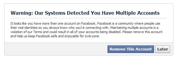 Warning: Our Systems Detected You Have Multiple Accounts - Nothing to Worry About, Yet.