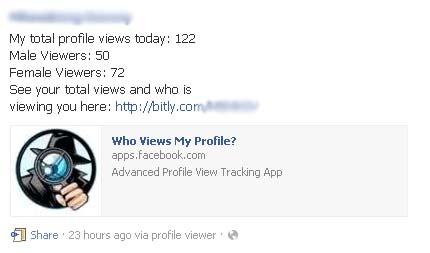 """My total profile views today"" – Showing Male and Female Viewers is a Facebook Scam"