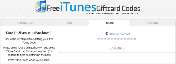 Free iTunes Codes - Free iTunes Card Codes - Facebook Scam