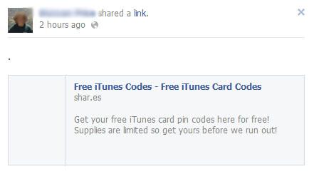 Free iTunes Codes – Free iTunes Card Codes – Facebook Scam