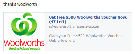 Get Free $500 Woolworths voucher Now. (47 Left)  – Facebook Scam