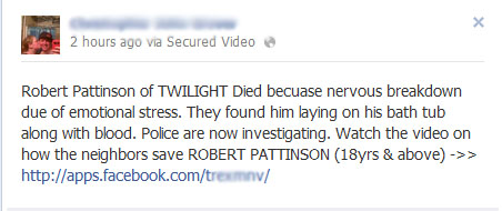 Robert Pattinson of TWILIGHT Died becuase nervous breakdown due of emotional stress – Facebook Scam