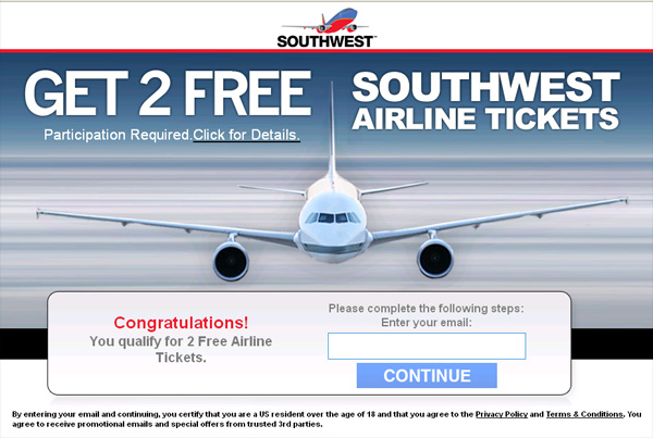 Get 2 Free Southwest Tickets!! (for a limited time only) - Facebook Scam