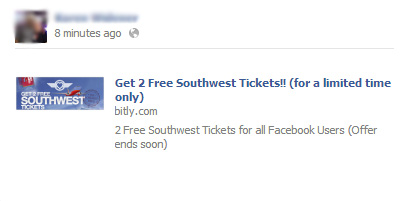 Get 2 Free Southwest Tickets!! (for a limited time only) – Facebook Scam