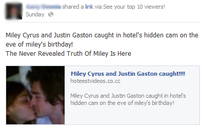 Miley Cyrus and Justin Gaston caught!!! – Facebook Scam