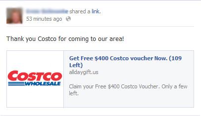 Get Free $400 Costco voucher Now. Claim your Free $400 Costco Voucher – Facebook Scam