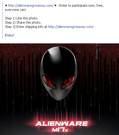 Free Alienware M18x – Facebook Survey Scam